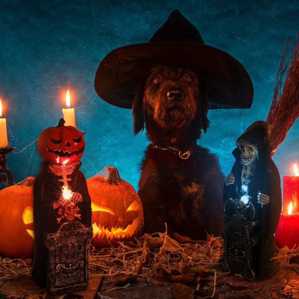 OUSFOT Halloween Decorations Props Grim Reaper Pumpkin Electronic Battery Powered Halloween Decor