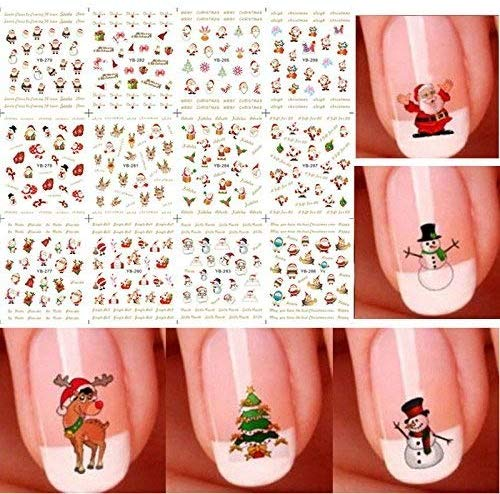 Christmas 12 Pieces 3D Nail Art Stickers Decals