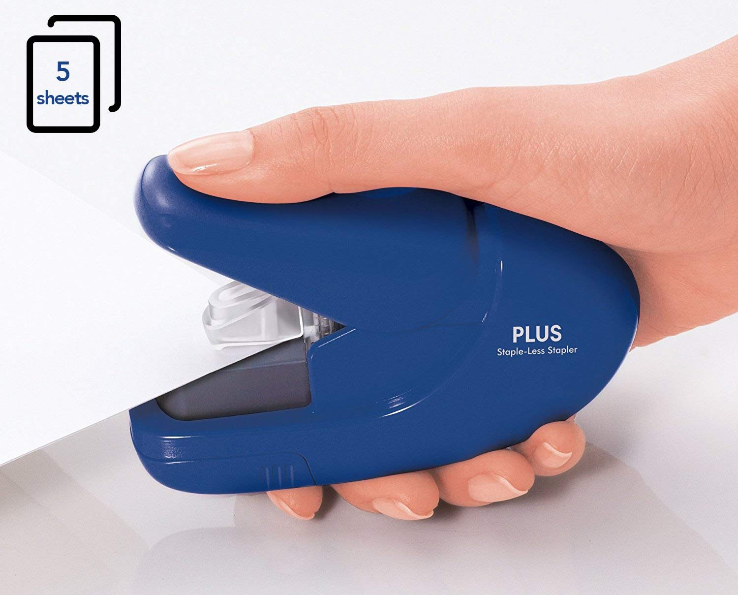 Half Price PLUS Japan, Staple-Free Stapler Blue, 5 sheet capacity at Amazon