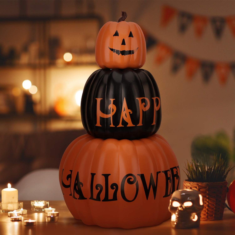 OUSFOT Halloween Pumpkin Decorations Indoor Outdoor 3 Pack Pumpkin Ornament