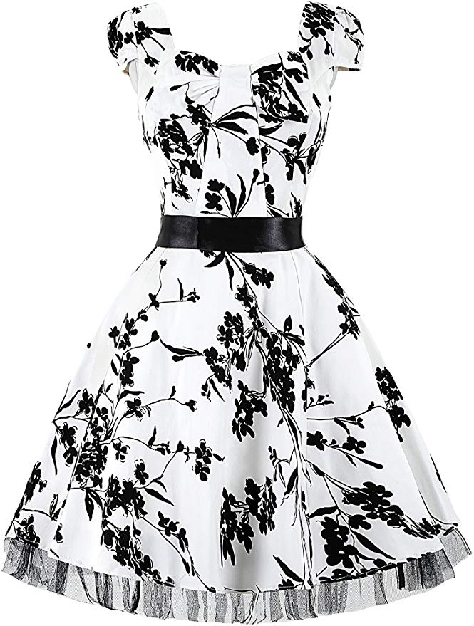 90% off GRACE KARIN Women 1950s Knee Length Party Printed Swing Cocktail Dresss 760