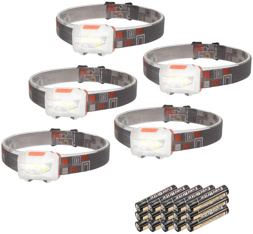 EverBrite 5-Pack LED Head Torch Headlamp Headlight, 200 Lumens Lightweight & Comfortable Pocket-Sized Headlamp