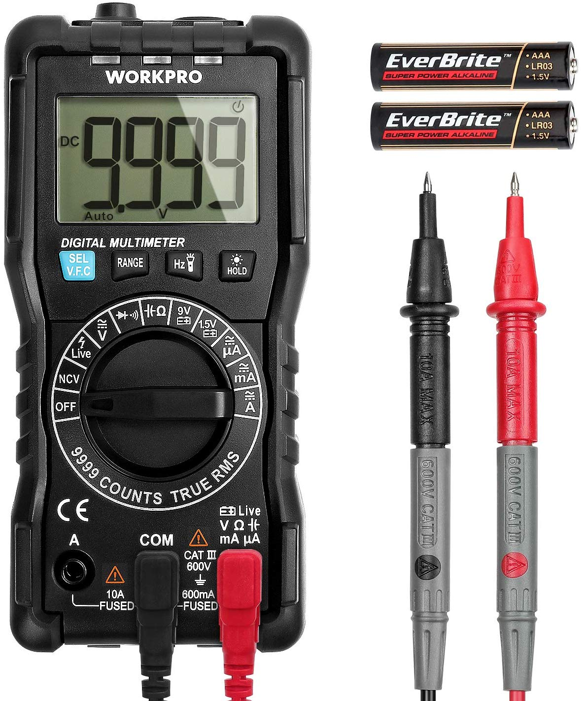 WORKPRO Multimeter Digital Multi Tester, True RMS 9999 Counts, Auto-Ranging Electrical Tester