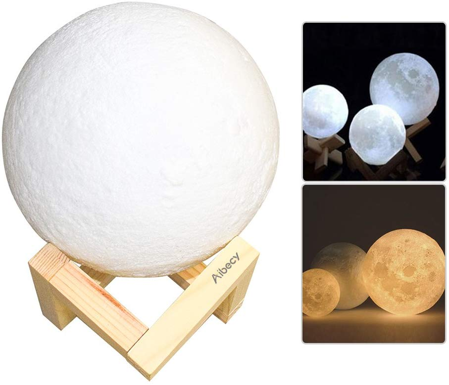Aibecy Moon Lamp USB Rechargeable LED 3D Printed PLA Night Light Home Decorative Lights