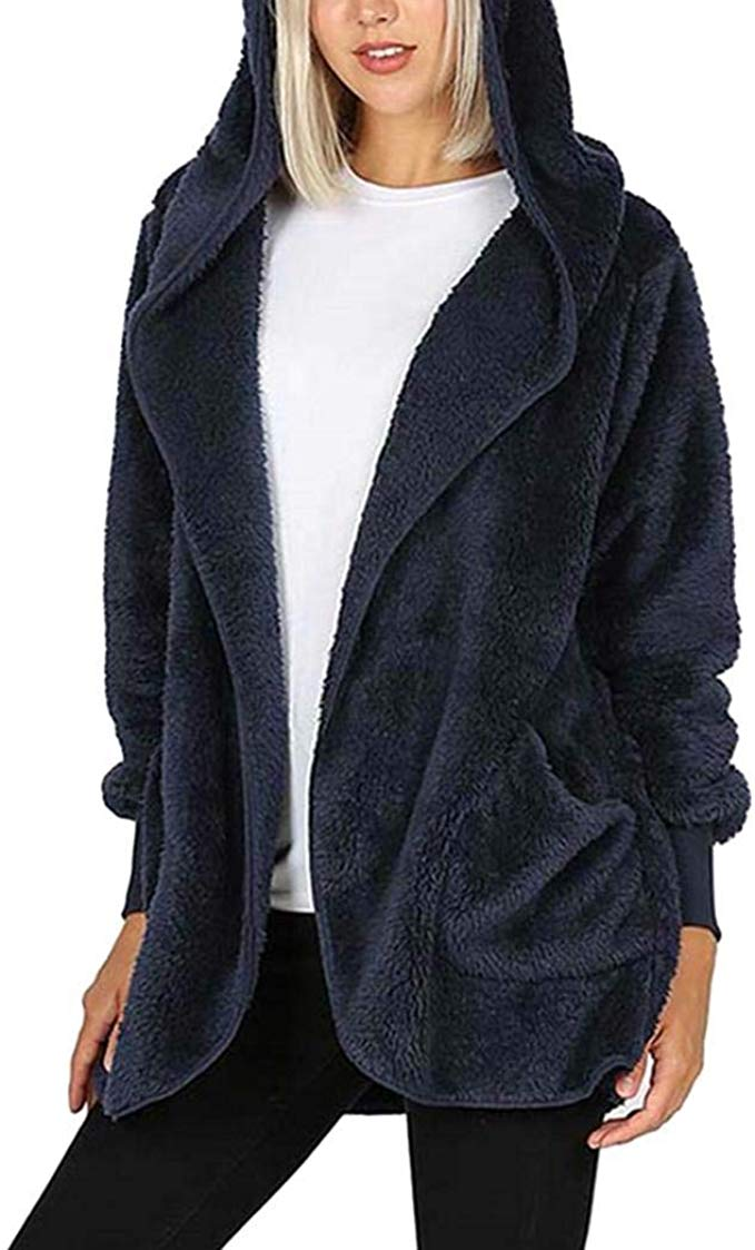 80% off Women Casual Hooded Long Sleeve Pocket Plush Outwear Coats