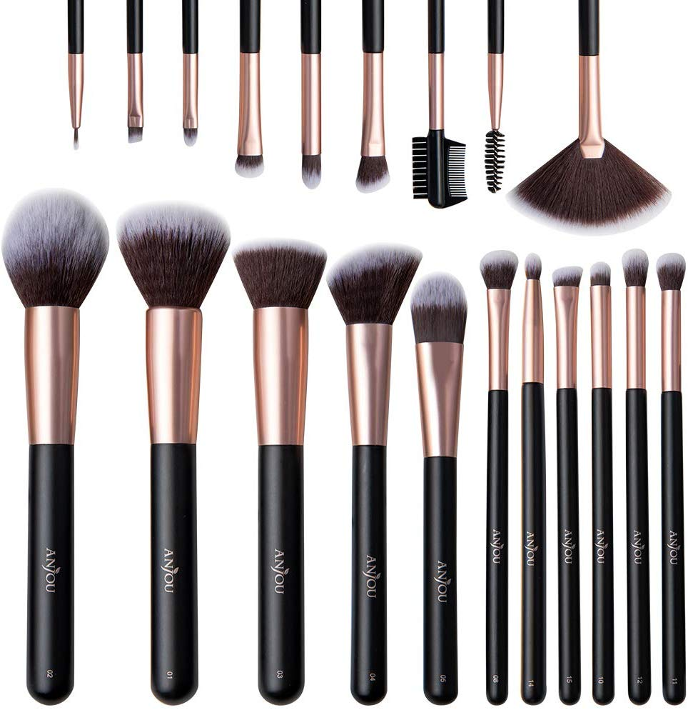 Anjou Makeup Brushes Sets 20Pcs Professional Makeup Brushes for Face and Eye Cosmetic Premium Synthetic Makeup Brush Set