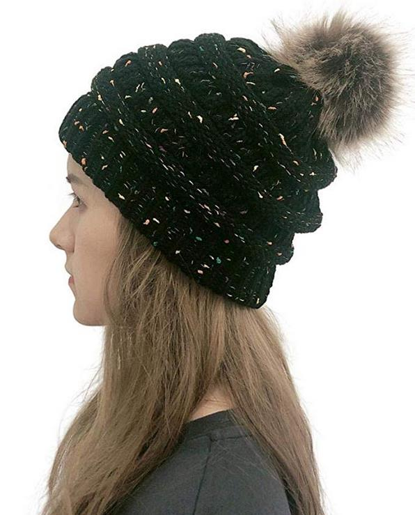 80% off Women Winter Fur Ball Warm Hat Crochet Knitted Wool Cap Comfortable Headgear Skullies & Beanies