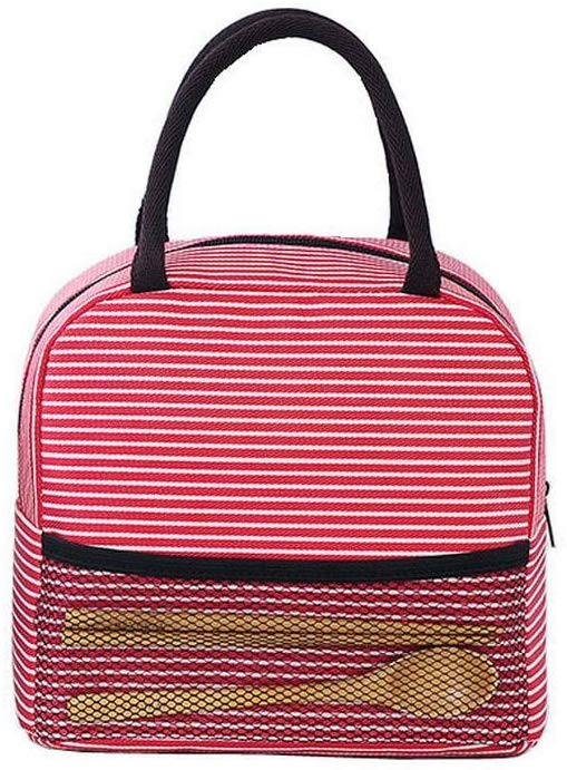 80% off Portable Stripe Lunch Bag Thermal Canvas Food Container Tote Handbag Satchels