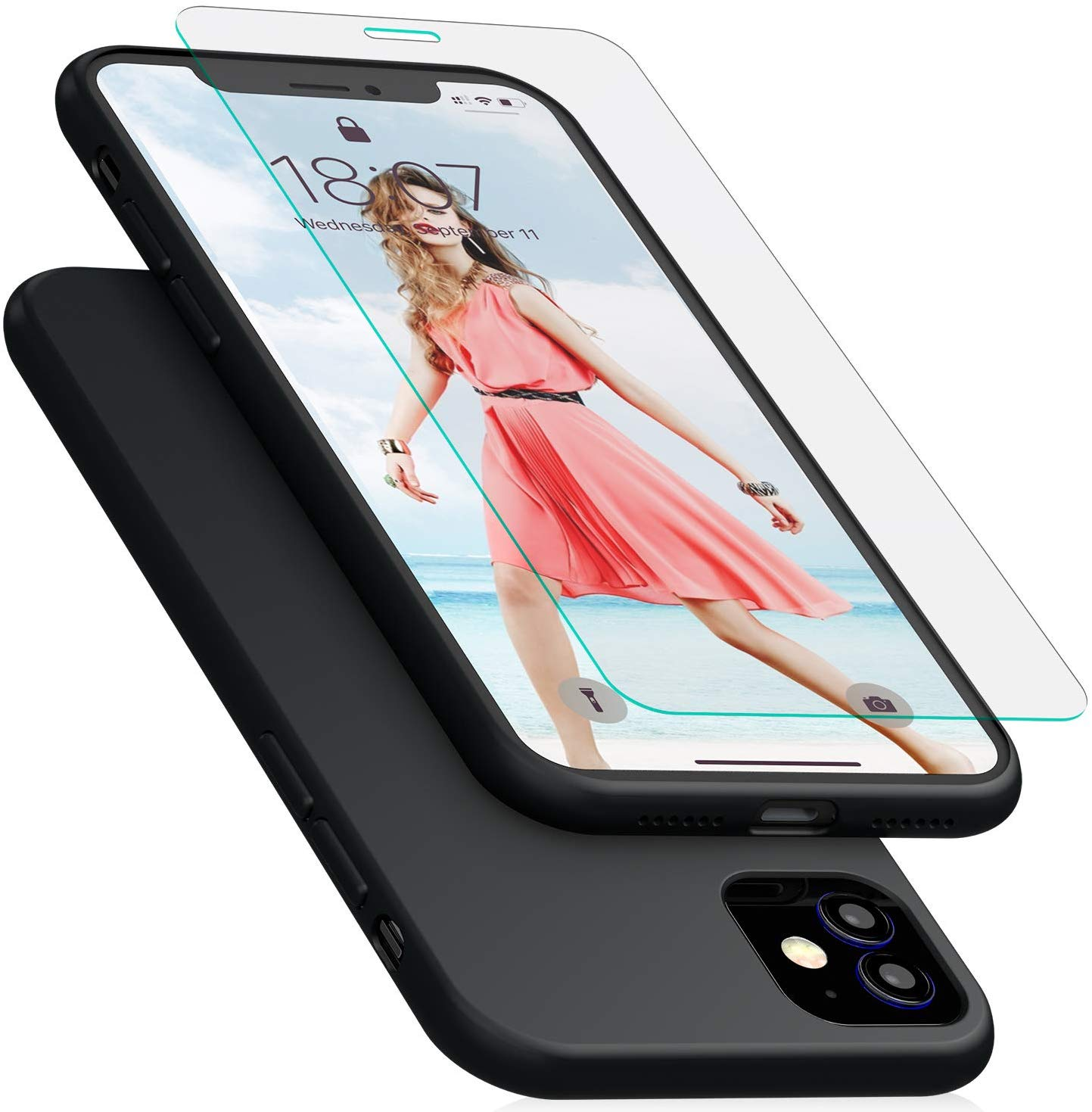 IVSUN Case for iPhone 11, Liquid Silicone Shockproof Cover with Free Tempered Screen Protector