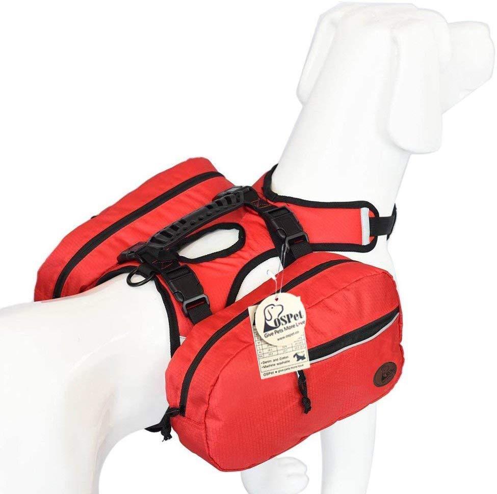 OSPet Saddle Bag Backpack for Large Dog, Detachable Pack Instantly Turns into Harness