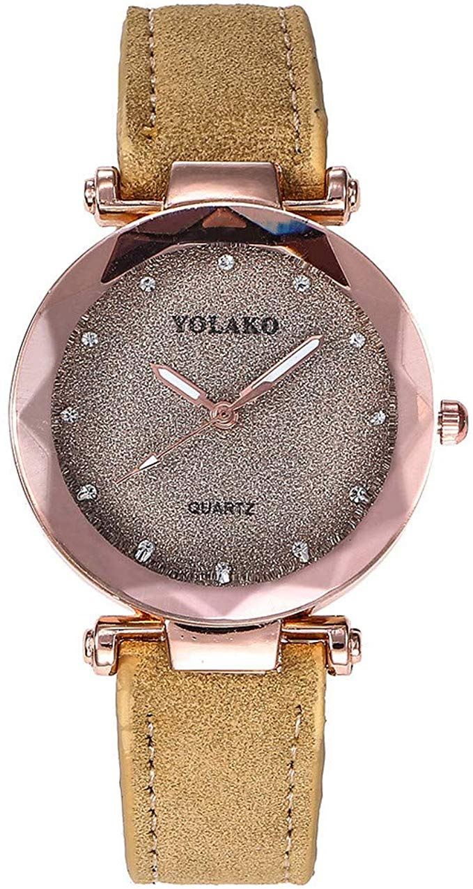 80% off MASIKI Ladies Casual Watches,Women's Quartz Faux Leather Band Starry Sky Analog Wristwatch L1094