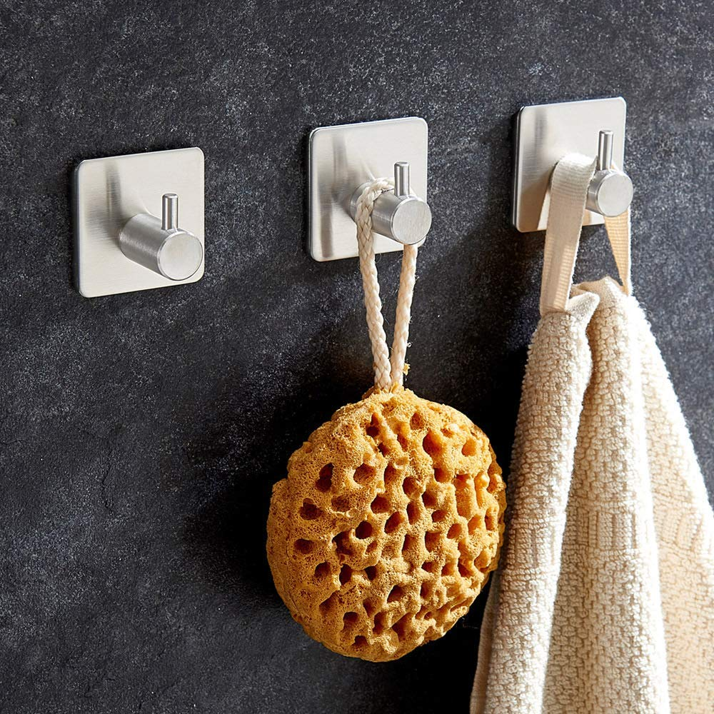 Wall Hooks Self Adhesive Hook, HengBo 4 Pcs Waterproof Stainless Steel Stick Hooks for Kitchens, Bathrooms, Closets