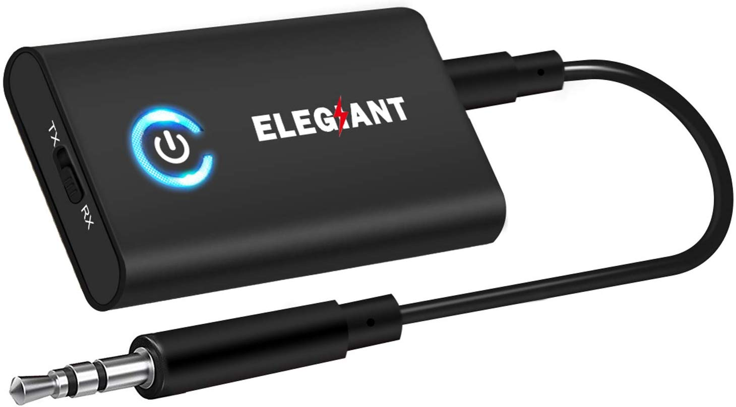 ELEGIANT Bluetooth 5.0 Transmitter Receiver, 2 in 1 Bluetooth Adapter Mini Portable 3.5mm Jack aptX LL, Low Latency Compatible with Bluetooth Audio Devices