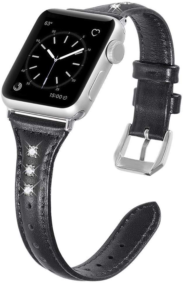 DBG Leather Watchband For Apple Watch Strap 42mm, Genuine Leather Repalcement Band Strap