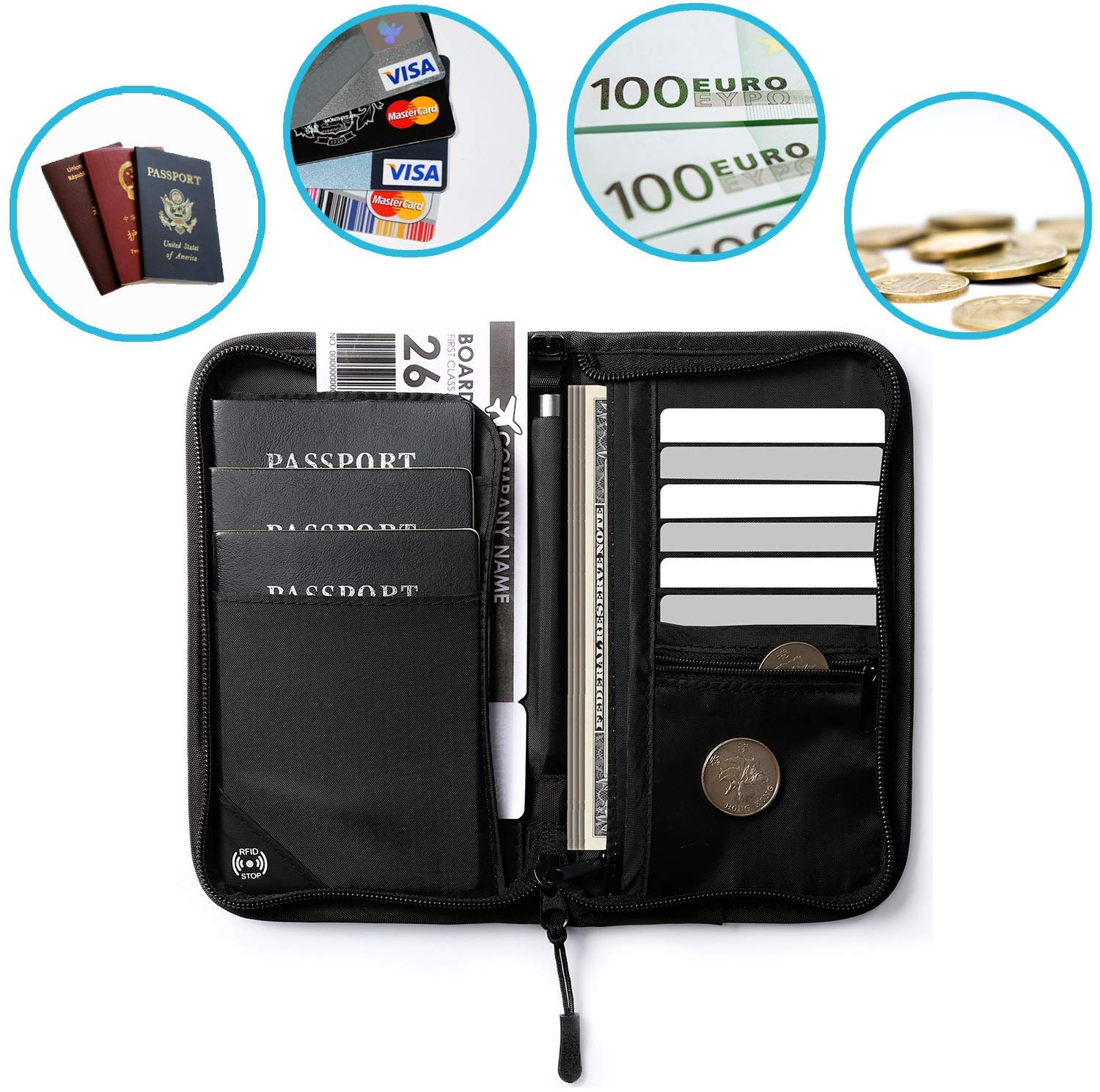 Family Passport Holder Document Organizer Waterproof RFID Blocking Travel Wallet