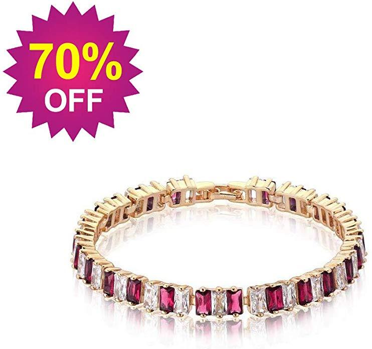 DBG Women Tennis Bracelet Sapphire Jewelry with Cubic 5A Zirconia