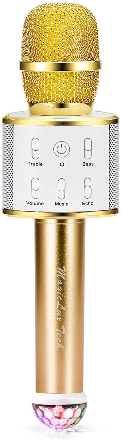 Wireless Karaoke Microphone, Handheld Bluetooth Speaker Player Cellphone Mic for Music Playing Singing at Home KTV Party