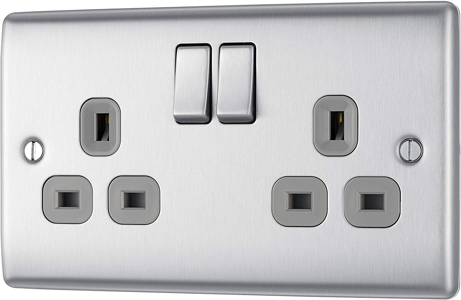 BG Electrical nbs22g Double Metal Brushed Steel Switched Power Socket £5.57 Prime + 4.49 Non Prime