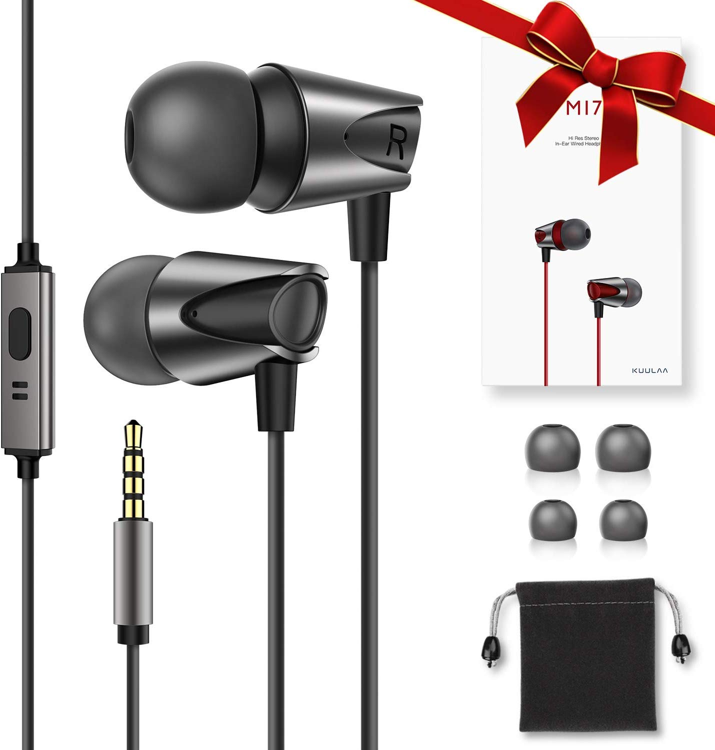 High Definition Wired Earphones Comfortable Tangle Free Earbuds with Deep Bass