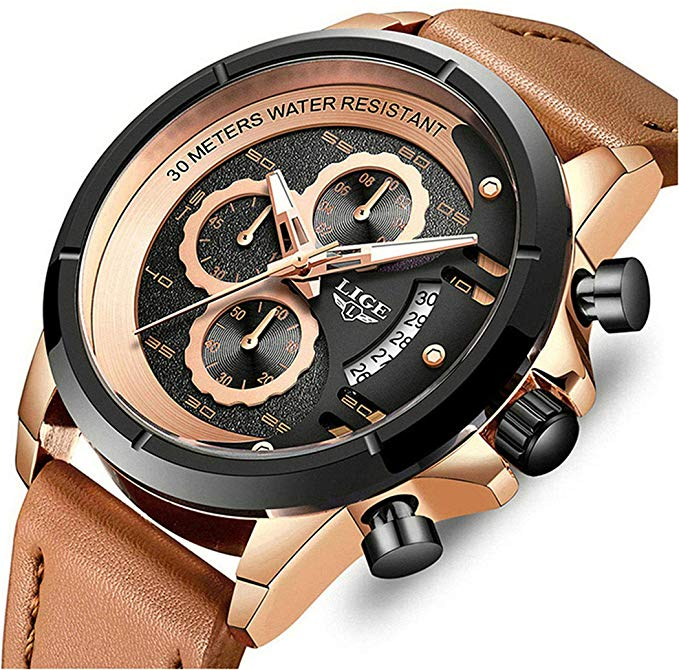Mens Watches Leahter Analog Quartz Watch Men Date Business Dress Wristwatch