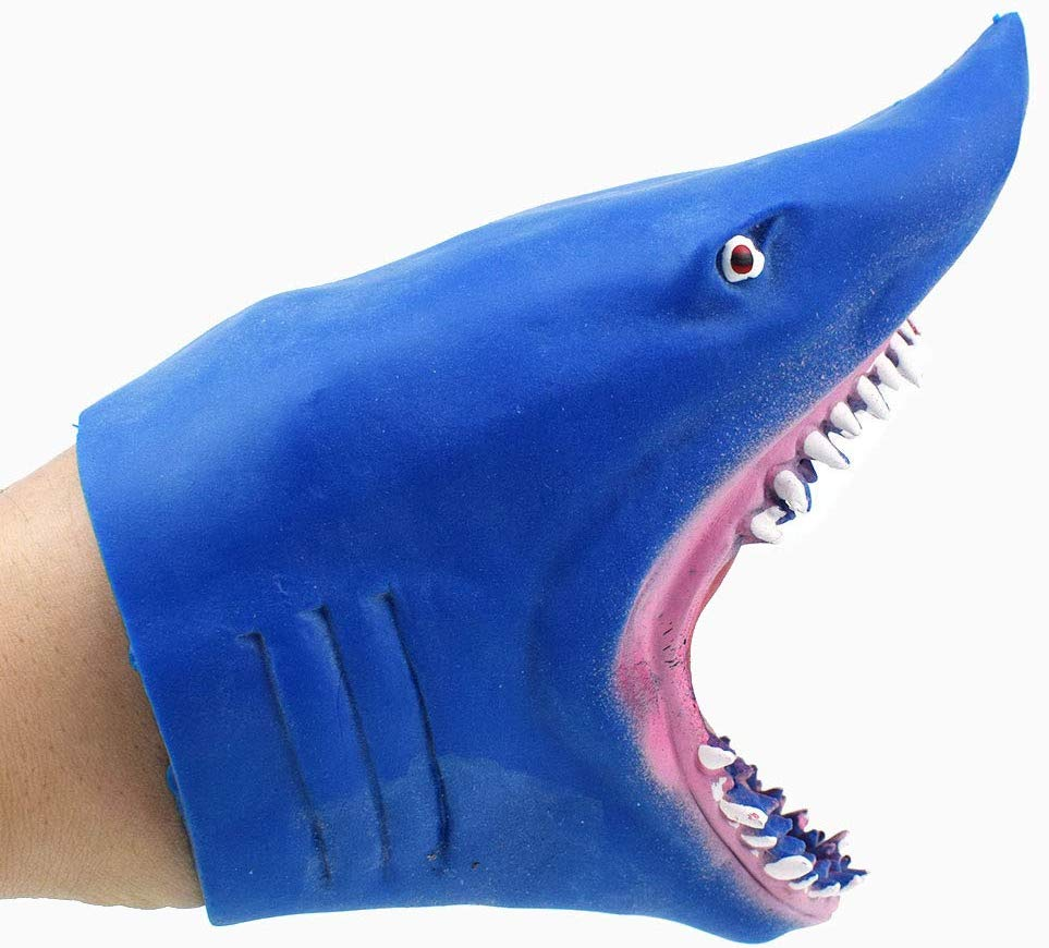 80% off Thermoplastic rubber S-hark Hand Puppet Toy Story Telling Doll Props shark hand glove toy (Blue)