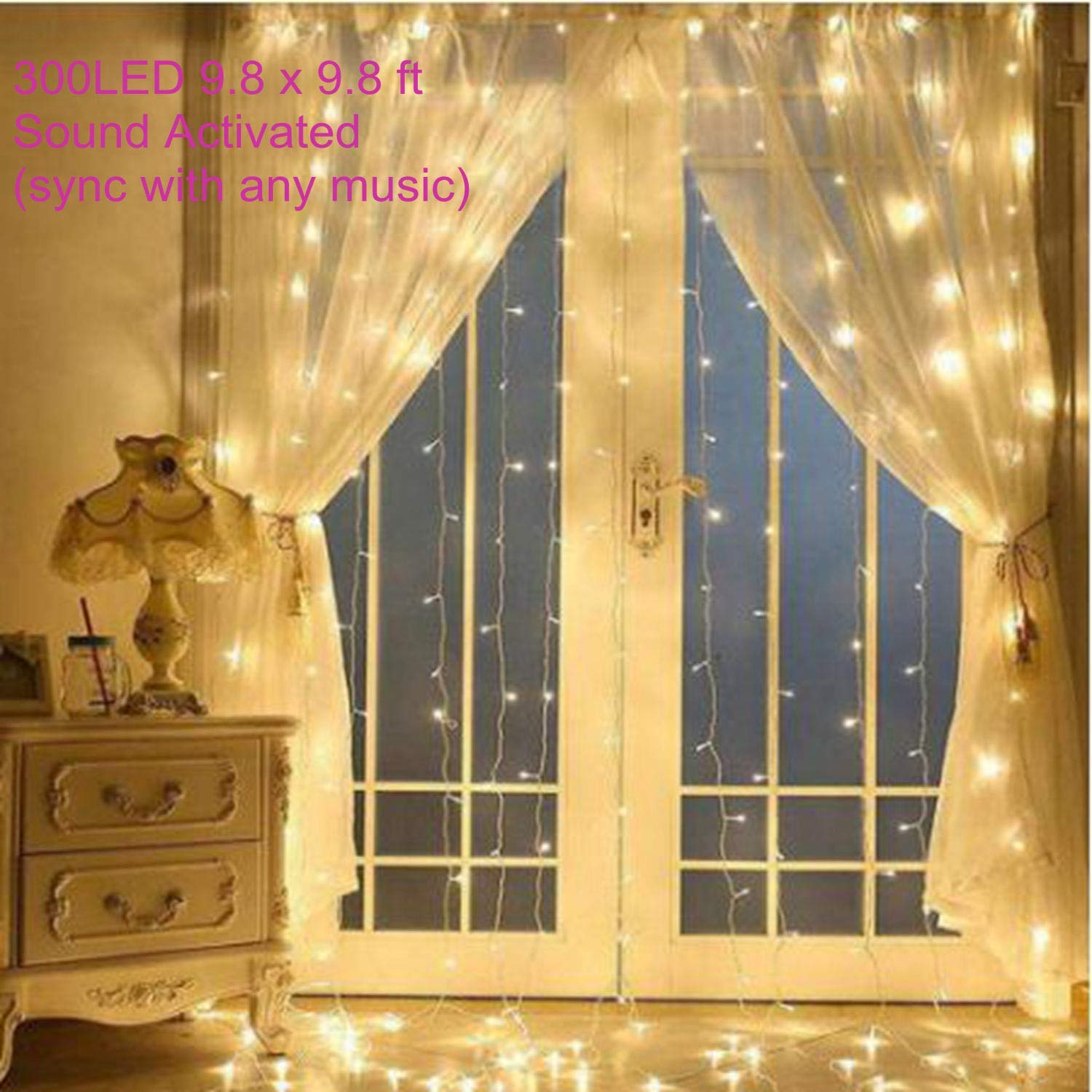 300 LED String Light Sound Activated Curtain Lights for Halloween Christmas
