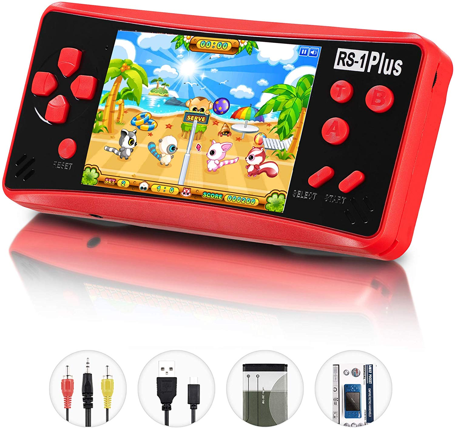 QINGSHE Handheld Game Console for Kids Adults, RS-1 PLUS Portable Classic Game Consoles