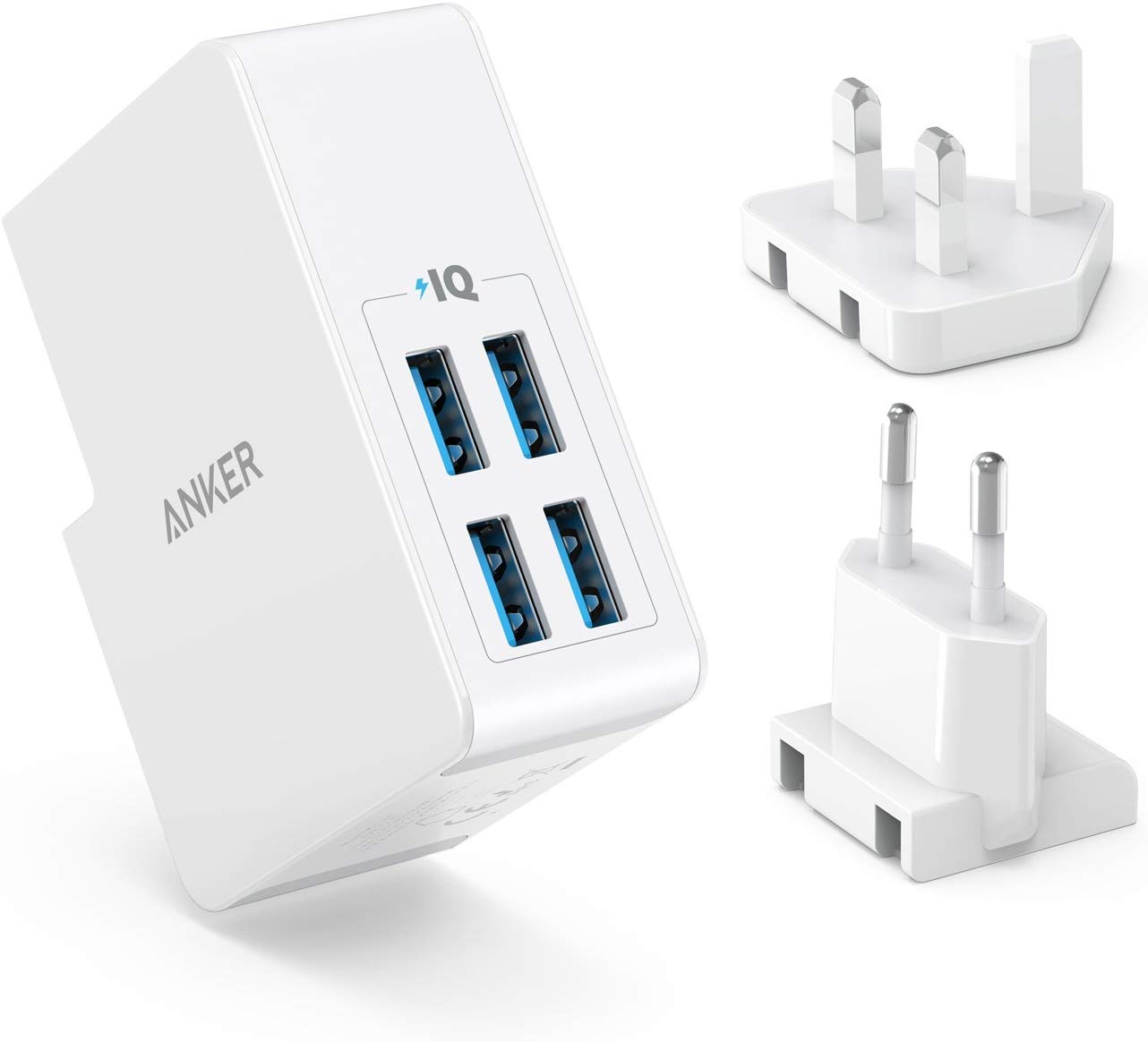 Anker USB Plug Charger 5.4A/27W 4-Port USB Charger, PowerPort 4 Lite with Interchangeable UK and EU Travel Charger