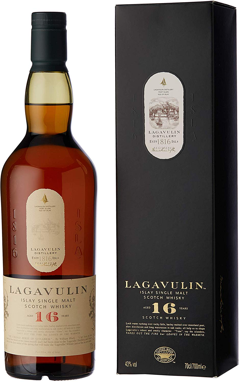 Lagavulin 16 Year Old Single Malt Scotch Whisky – 70cl for £43.99 at Amazon