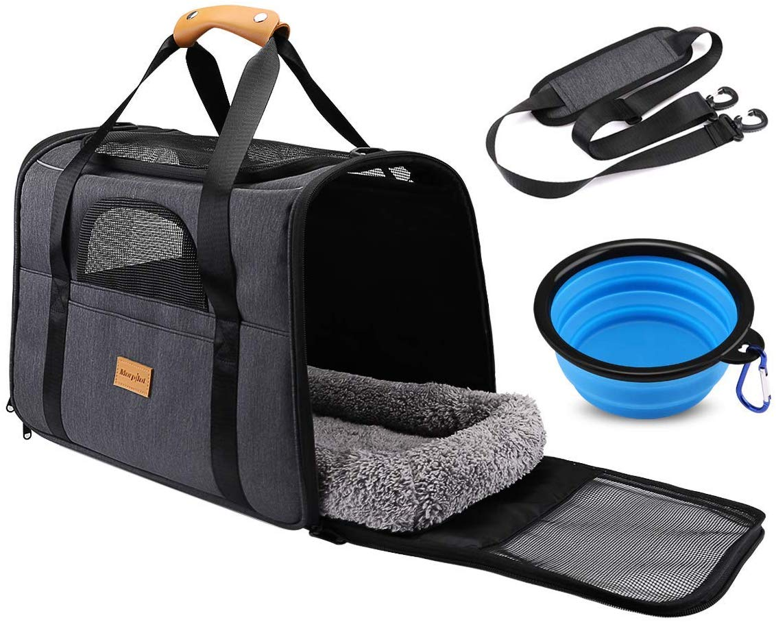 morpilot Pet Carrier Bag, Portable Cat Carrier Bag Top Opening, Removable Mat and Breathable Mesh, Foldable Transport Bag