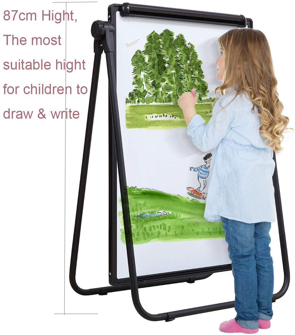 WELMORS Magnetic U-Stand Whiteboard Dry Erase Board/Flipchart Easel and Accessories (Includes Pen Tray, 12 x Magnets & 2 x Eraser) 90x60cm,