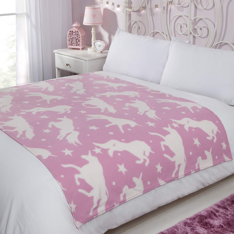 Dreamscene Fleece Blanket, Unicorn Pink-120 x 150 cm for £5.99