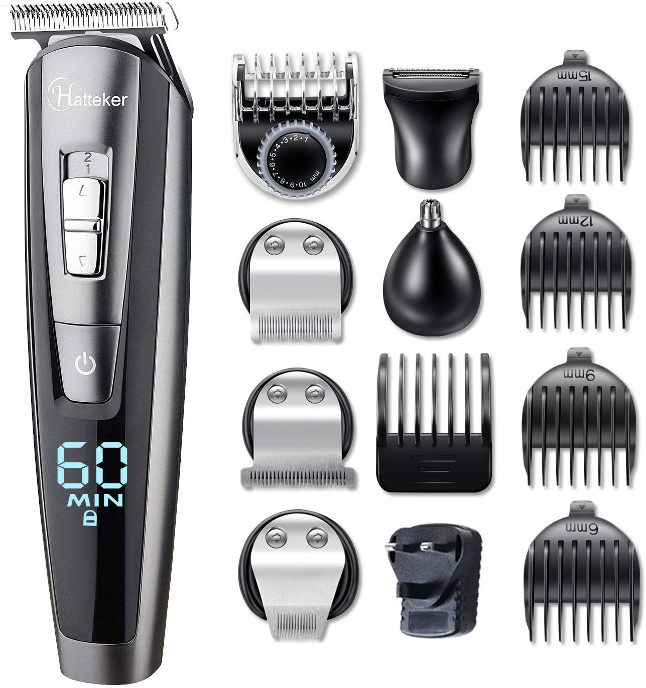 HATTEKER Beard Trimmer for Men Cordless Mustache Body Trimmer Hair Trimmer Groomer Kit