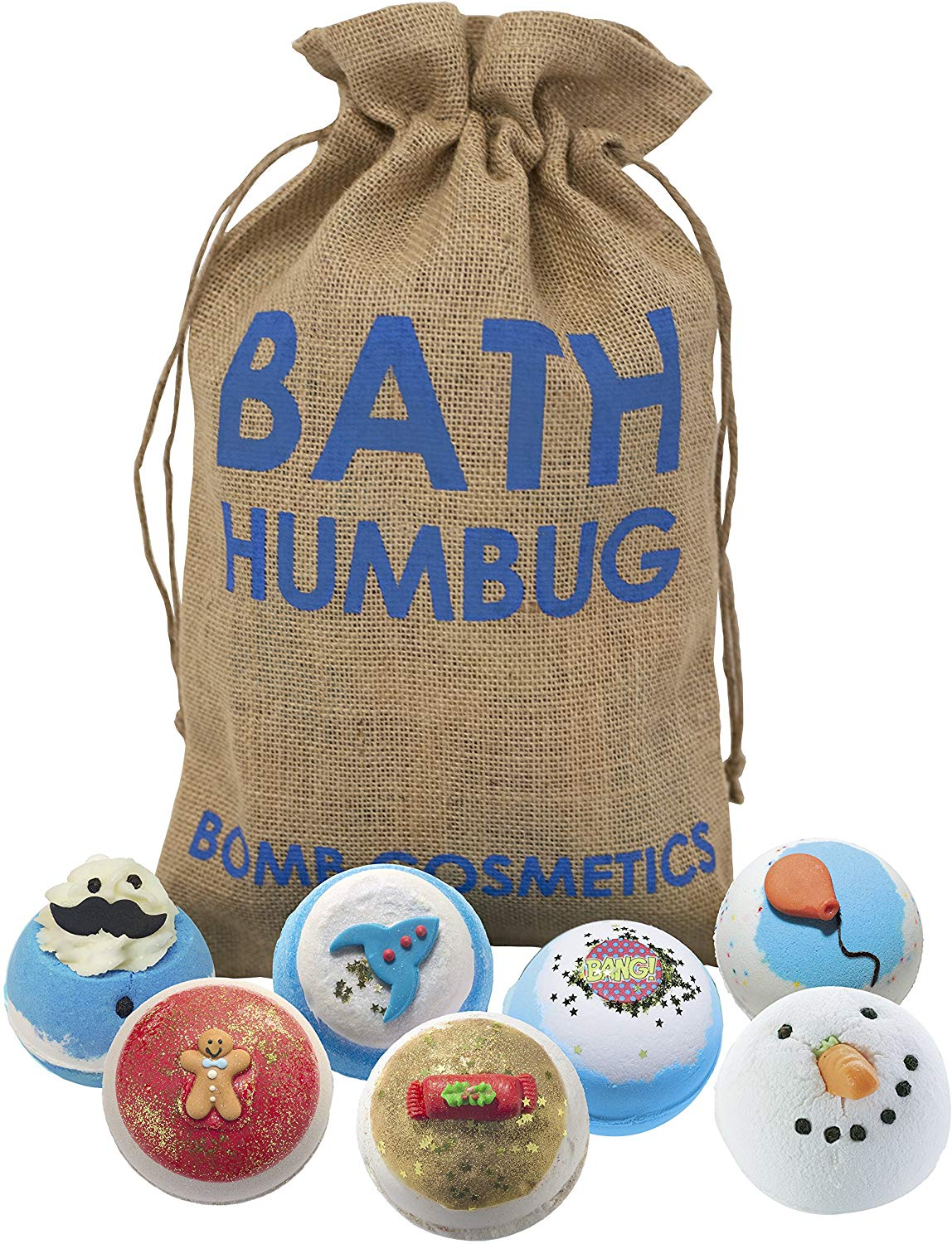 Bomb Cosmetics Bath Humbug Handmade Hessian Sack Bath Bomb Gift Pack, 7-Pieces