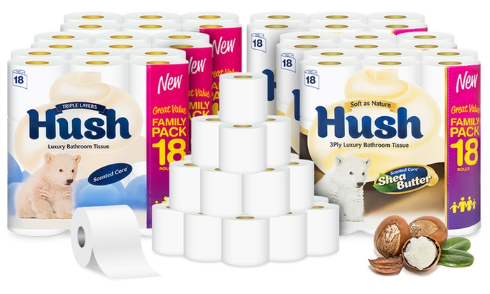 Up to 162 Hush Three-Ply Super Soft Toilet Tissue Roll (54, 108 or 162 Rolls) £13.67 Delivered on Groupon