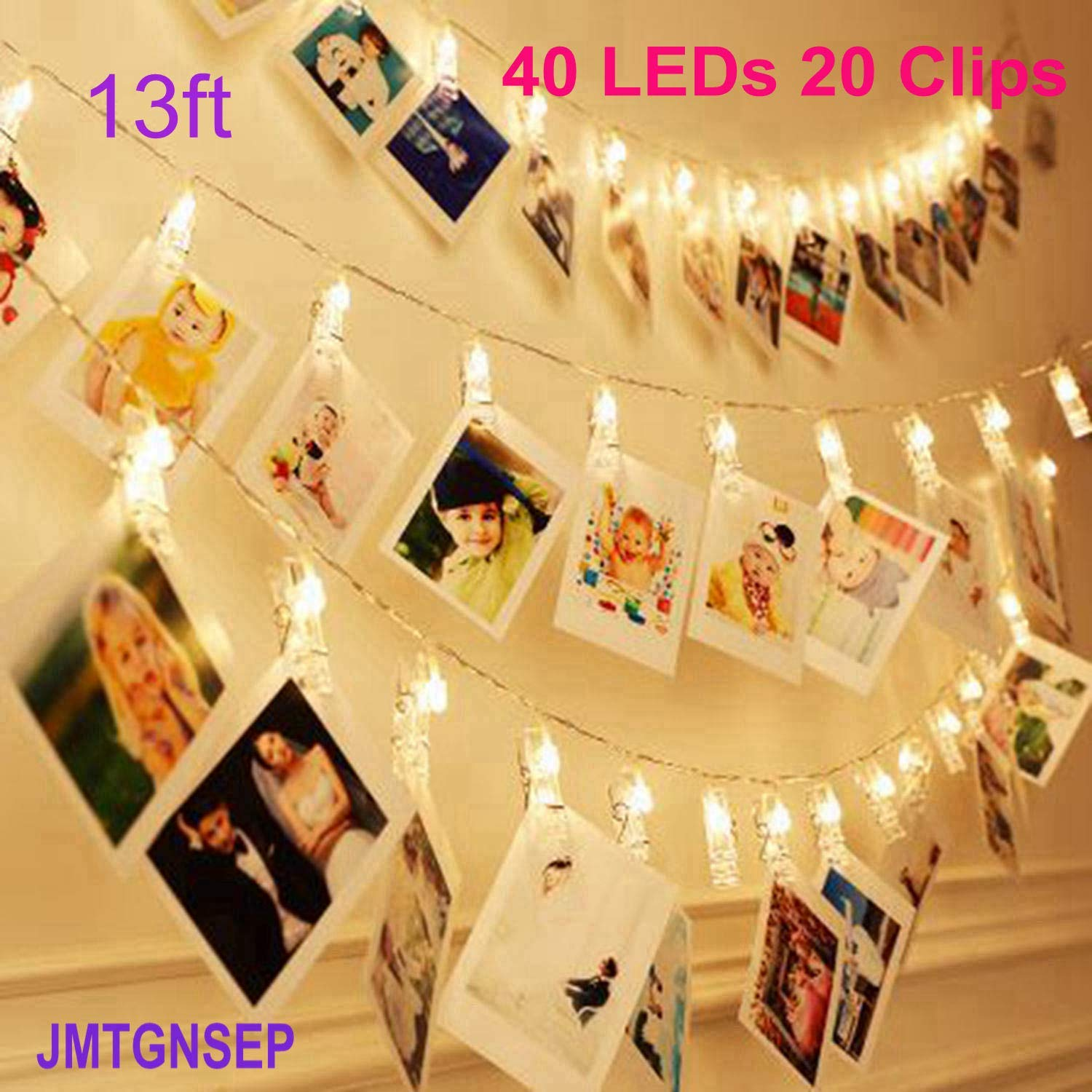 60% off Led String Light 40 LEDs 20 Photo Clip, for Halloween Christmas New Year Holiday Wedding Birthday