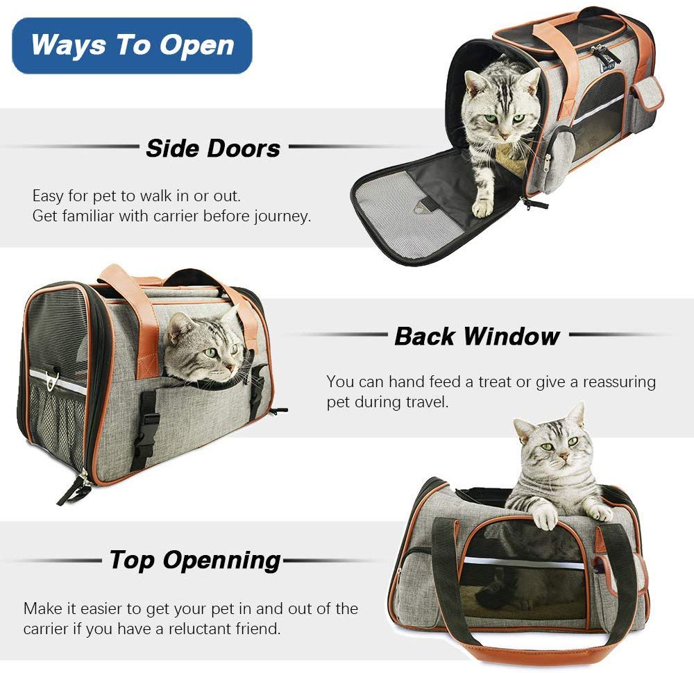 Premium Cat Carrier Travel Soft Sided for Small Cats and Dogs Portable Cozy Self Locking Zipper Cat Bag