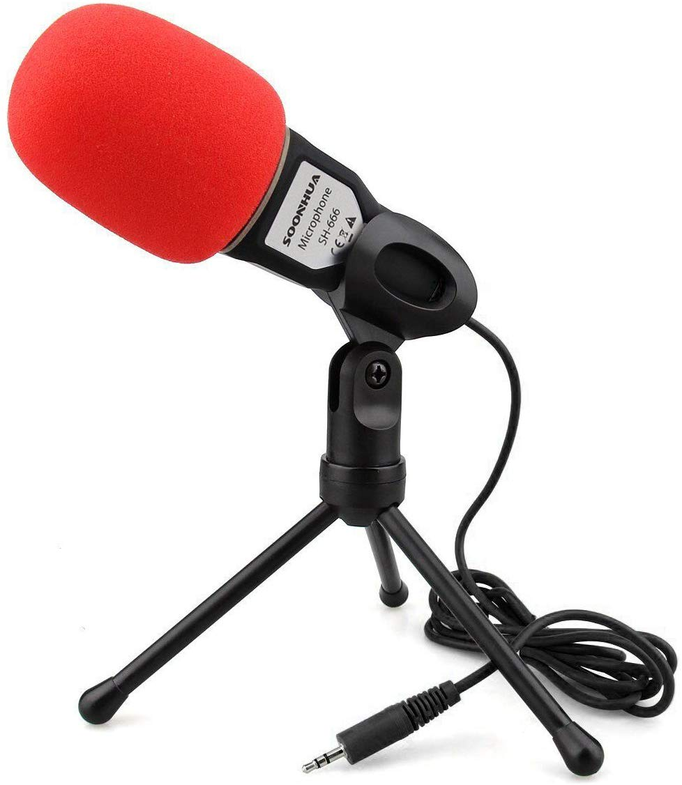 SOONHUA Professional Condenser Sound Microphone With Stand for PC Laptop Skype Recording Black