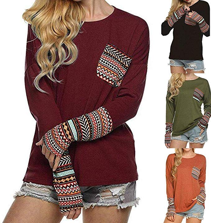 80% off Women Casual O-Neck Long Sleeve Patchwork Knitted T-Shirt T-Shirts