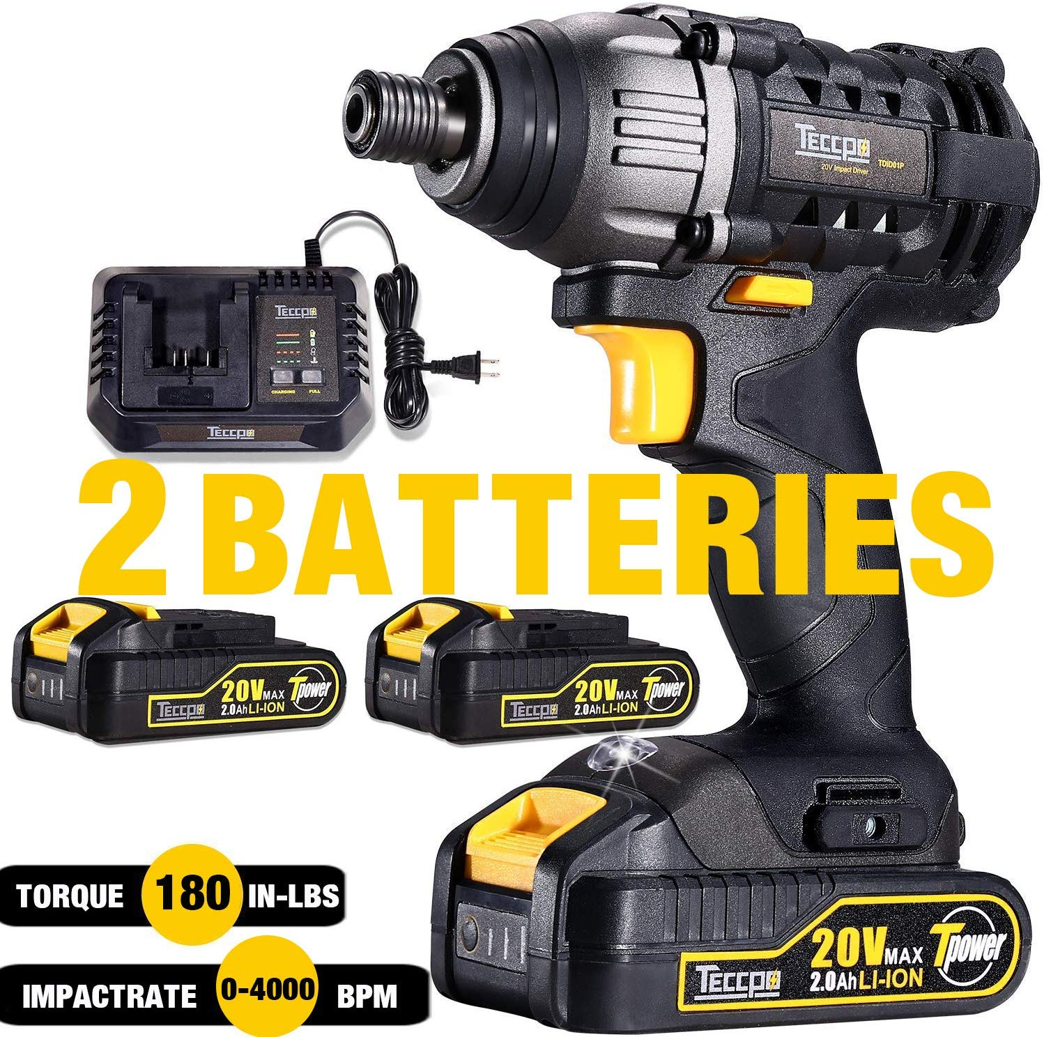TECCPO Impact Driver Brushless 18V, 2 Batteries 2.0Ah for £67.99 on Amazon