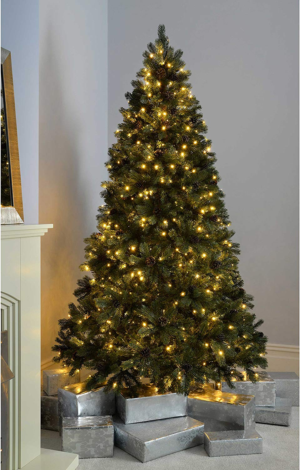 7ft (2.1m) Craford Pine Pre-Lit Christmas Tree with 500 Warm White LED Lights & mini Pine Cones