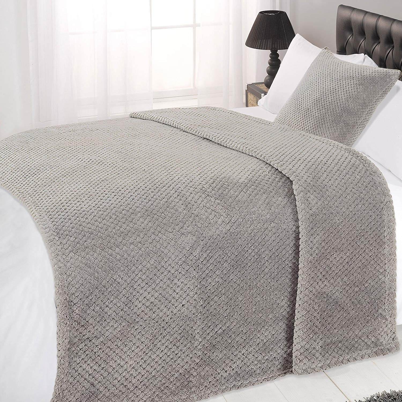 Dreamscene Waffle Soft Mink Warm Throw Over Sofa Bed Blanket 125 x 150
