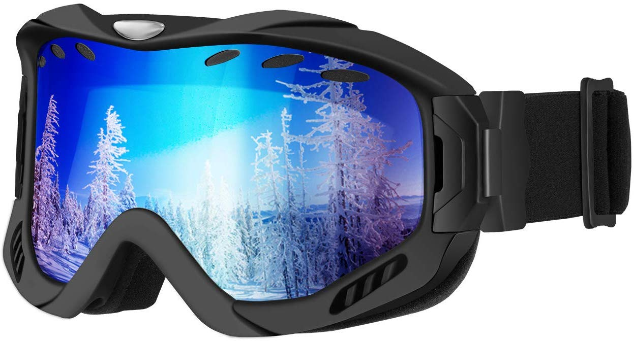 OMORC Ski Goggles Adult UV400 Protection Anti-fog OTG Over Glass