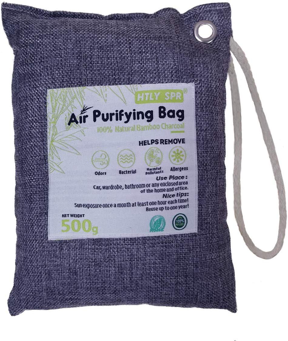 HTLY SPR Bamboo Activated Charcoal Bag, 500g Natural Air Purifying Bags