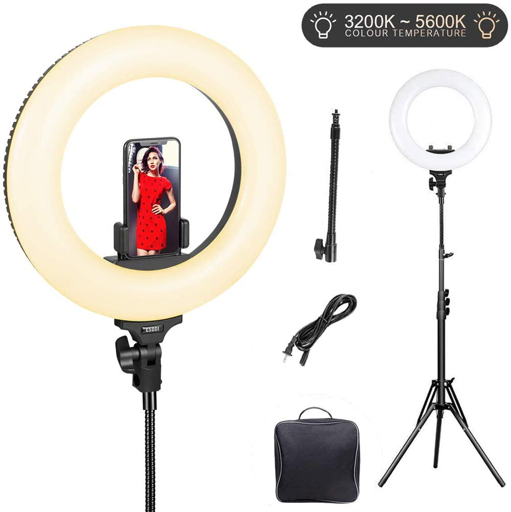 Ring Light with Stand LED ESDDI Ring Light for Selfie Makeup Camera 14 inch Built-in Adjustable Color-temperature 3200K-5600K