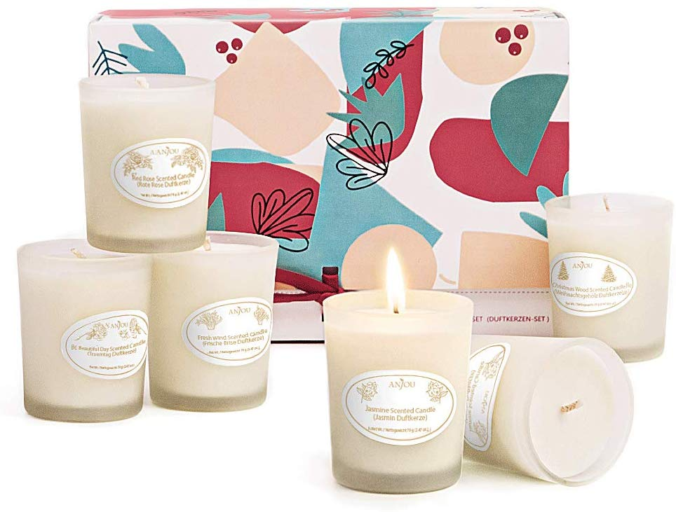 ANJOU Scented Gift Set, Aromatherapy Candle 6 Fragrances Soy Wax with Essential Oils