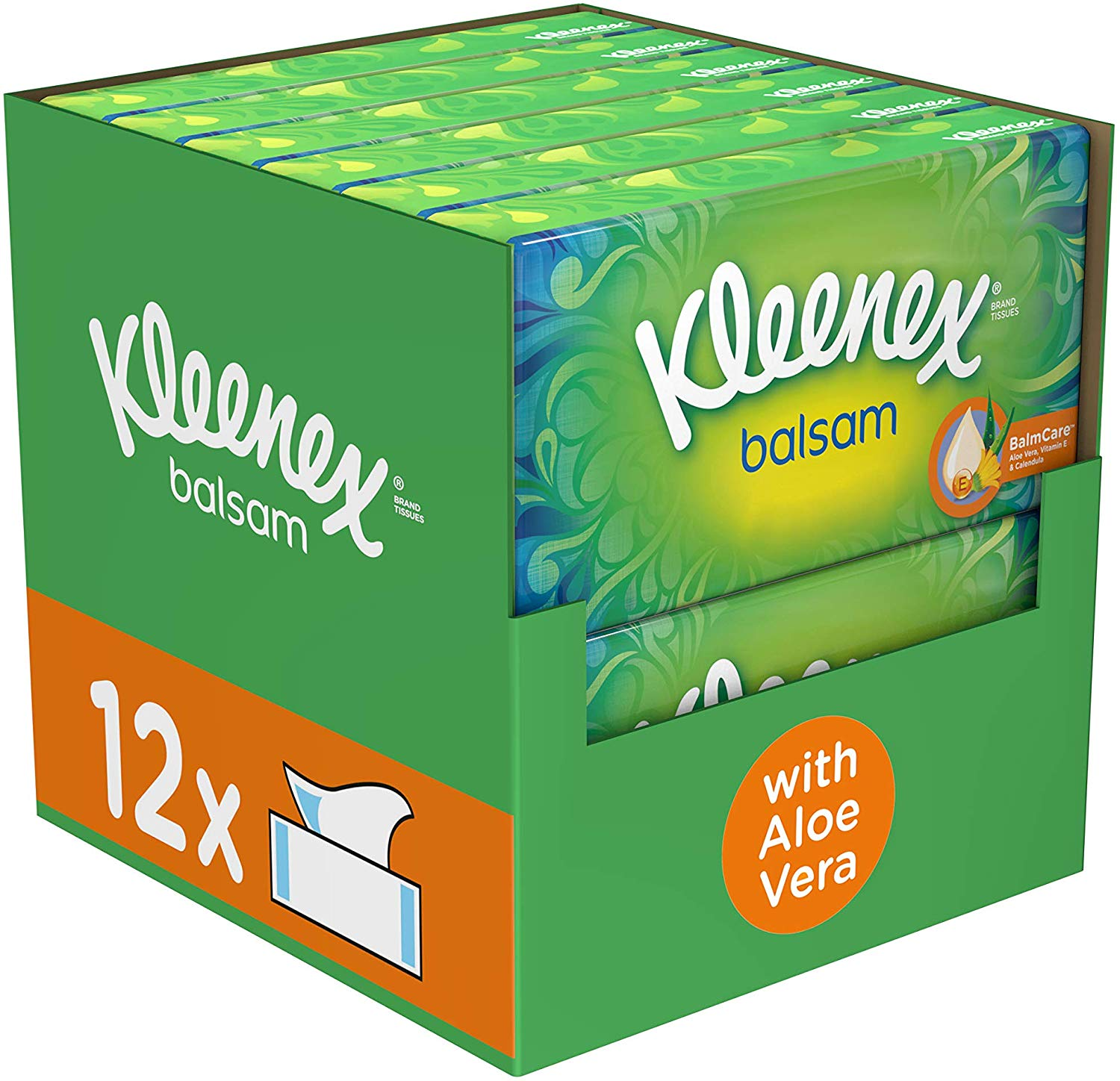 Kleenex Balsam Facial Tissues, Pack of 12 Tissue Boxes (Protective Balm for Cold and Flu Symptoms)
