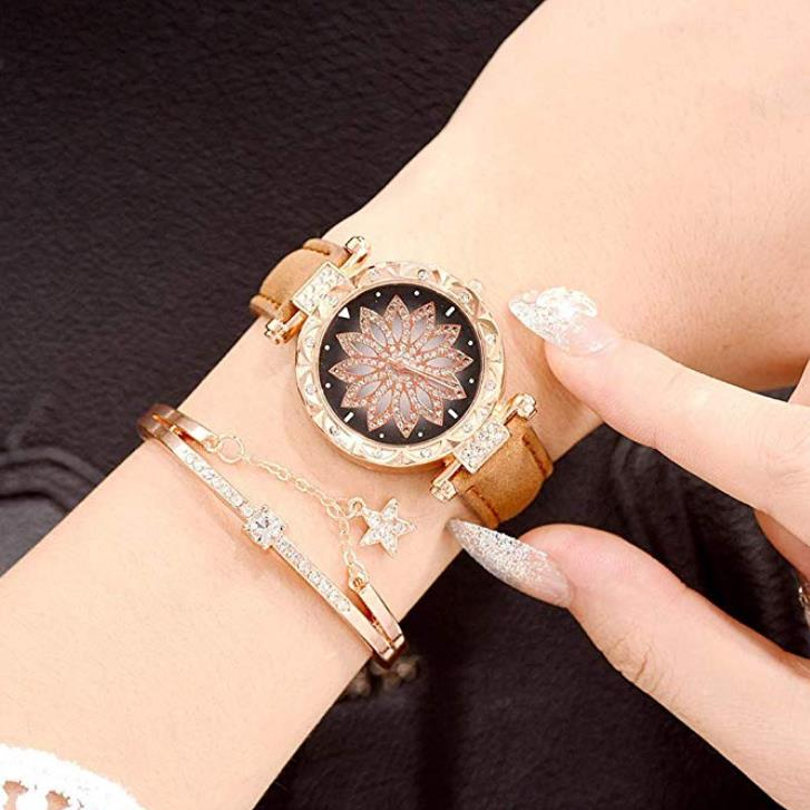 80% off Simple Star Flowers Belt Ladies Bracelet Quartz Watch Gift