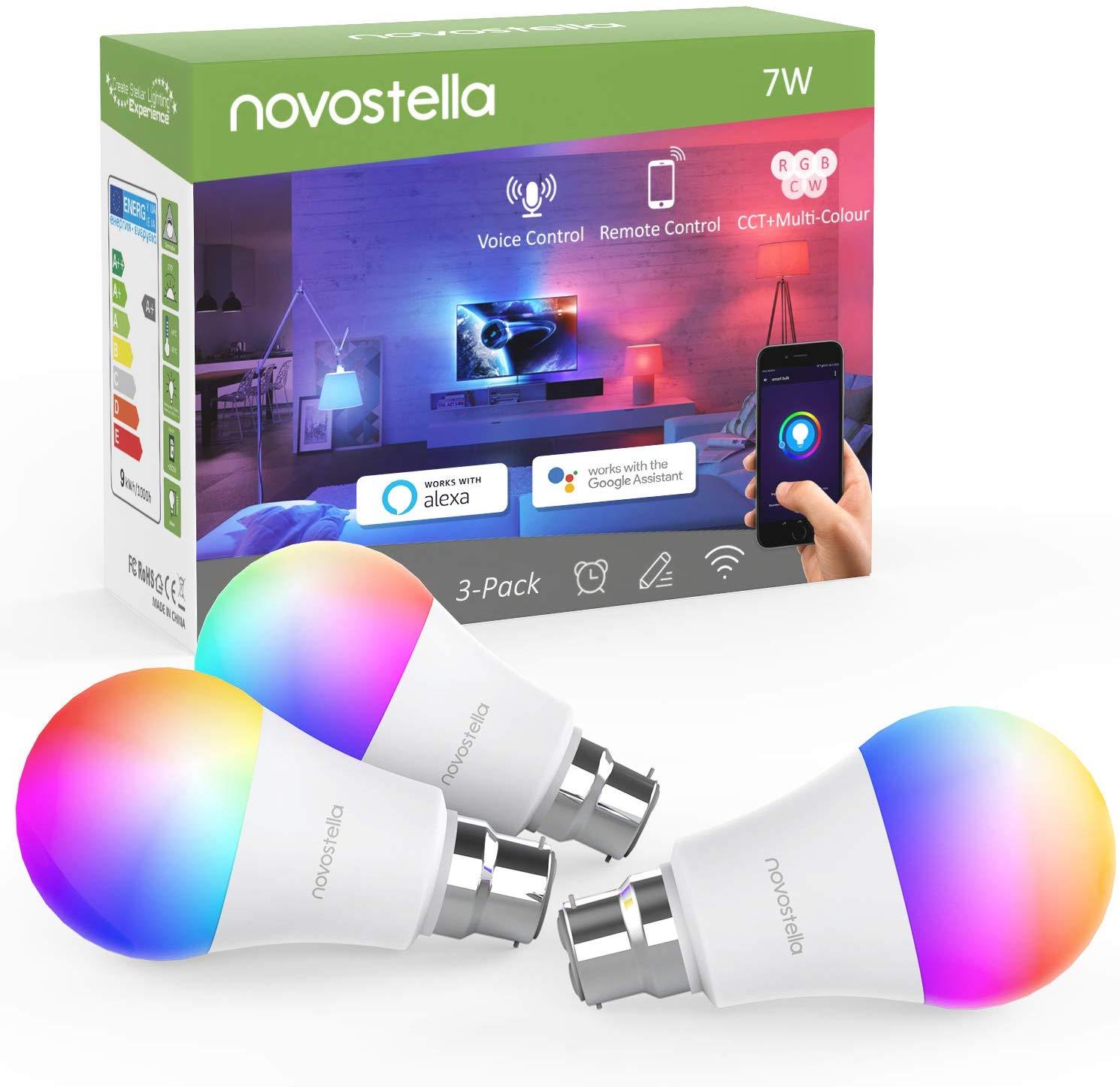 Novostella Smart Bulb B22 RGBCW, Work with Alexa Google Home IFTTT- 3 Pack