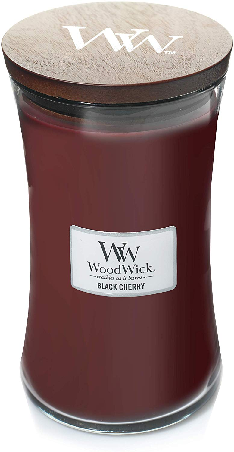 WoodWick Large Hourglass Scented Candle, 130 Hours,Black Cherry